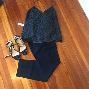 NWOT jcrew Carrie cami floral lace - charcoal